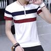 条纹短袖T恤男潮流上衣夏季拼接圆领半袖体恤打底衫