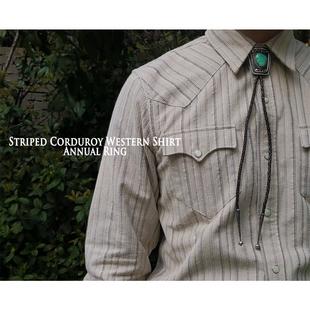 AnnualRing美式复古西部风格条纹灯芯绒长袖衬衫重磅厚纯棉咔叽男