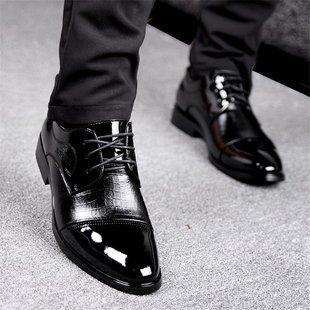 贝罗盟结婚鞋商务系带正装鞋子黑色英伦尖头男士皮鞋男亮皮冬