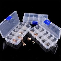一听可乐10格透明塑料收纳盒 多格子耳钉饰品首饰盒 整理盒可拆卸