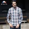 朗蒙春季男士纯棉格子长袖衬衫加厚碳素磨毛衬衫