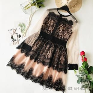 女装长袖淑女刺绣气质雪纺裙碎花蕾丝连衣裙中长款