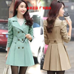 反季女装春秋韩国风衣中长款宽松加肥加大码气质双排扣女外套