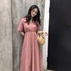 夏季2018百搭温柔可爱气质长裙学生女V领格子短袖连衣裙