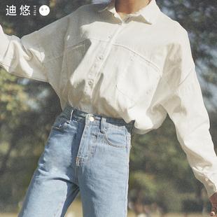 衬衣女2018秋装长袖chic上衣学生bf白色衬衫外搭宽松韩范