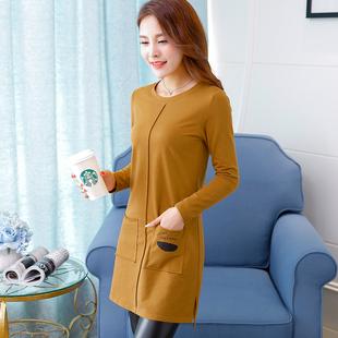 2018秋季中长款长袖女士上衣打底衫显瘦纯色棉t恤体恤新