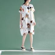 民族风春夏季连衣裙中长款大码宽松大版女士长衫格子短袖T恤棉麻
