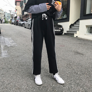 秋款双杠运动裤女宽松学生校服裤纯棉直筒九分裤阔腿