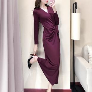 乡村杉秋装连衣裙女长袖V领系带遮肚显瘦气质长款打底裹身裙