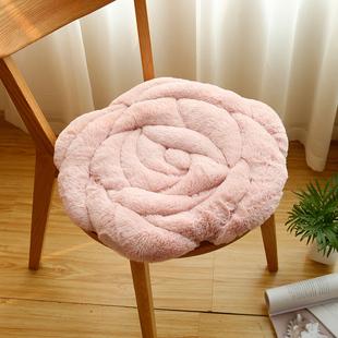 九只猫玫瑰花坐垫办公室椅子垫秋冬季榻榻米毛绒加厚坐垫椅垫地垫