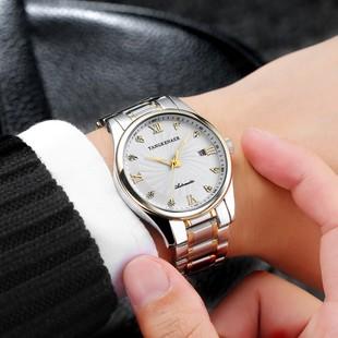 男表夜光防水商务手表男士钢带腕表女士女表情侣表机械表