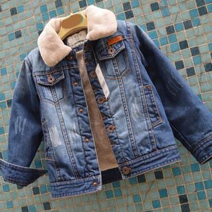 秋款冬款中大童女童男童装双层内加绒加厚儿童牛仔衣外套夹克毛领