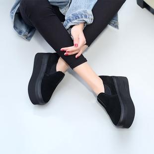 厚底松糕鞋女冬坡跟百搭加绒懒人鞋一脚蹬内增高鞋女