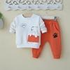 0-1-3岁小童装男童宝宝春装卫衣两件套装婴儿帅气潮衣服春秋外出4