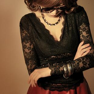 秋冬季女装性感夜店V领长袖黑色蕾丝上衣紧身透视打底衫