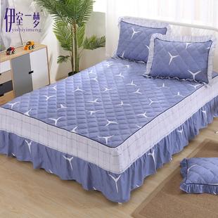 全纯棉床罩床裙单件加夹棉床套1. 米加厚简约田园三件套