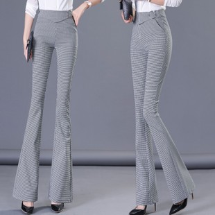 格子喇叭裤女装2019春季收腹提臀微喇裤淑女高腰显瘦长裤