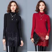 中长款蕾丝衫秋冬款长衫长袖秋衣女士带绒打底衫长款包臀外穿小衫
