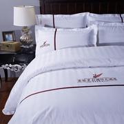 五星级酒店床上用品三四件套纯棉床单被套被罩纯白色全棉宾馆床品