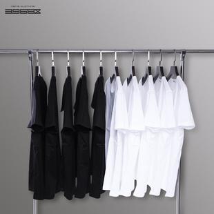 短袖t恤男纯色t桖圆领打底衫宽松纯棉黑色丅纯白色半袖体恤上衣服