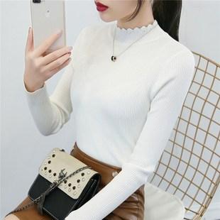 半高领白色毛衣女打底衫长袖套头线衣秋冬短款紧身针织衫