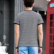 夏季打底衫海魂衫黑白条纹t恤男短袖海军风纯棉圆领大码男装半袖