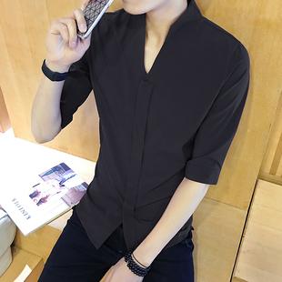 2019夏季男士黑色五分袖衬衫男生时尚百搭中袖衬衣潮