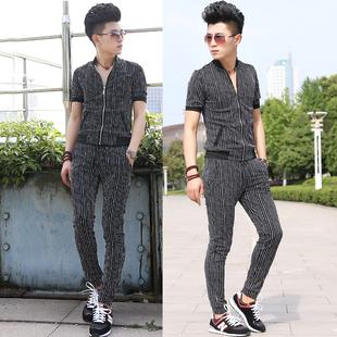 2018男夏季套装长裤开衫男运动卫衣短袖男时尚条纹套装潮