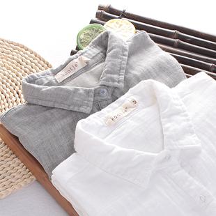 日系文艺小清新韩范格子双层棉纱长袖衬衫纯棉白衬衣女学院风宽松