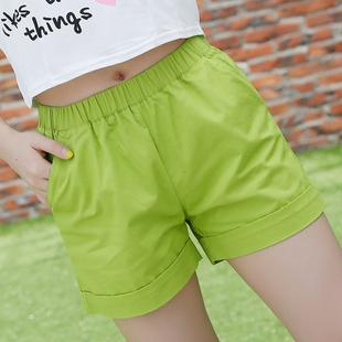 夏季纯色短裤女夏新大码糖果彩色宽松纯棉短裤热裤潮