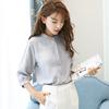 2019春夏装七分袖白色雪纺衬衫女立领宽松中袖chic上衣潮