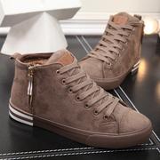 人本男鞋冬板鞋 高帮加绒保暖棉鞋平底系带男士短靴
