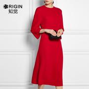 大红色连衣裙晚礼服女2018宴会高贵优雅长袖正式场合派对裙子