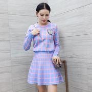 小香风A字裙针织时尚套装女秋季2018毛衣两件套蓬蓬裙连衣裙