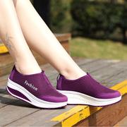 夏季女士网布鞋厚底一脚蹬摇摇鞋女透气网鞋跑步运动鞋女