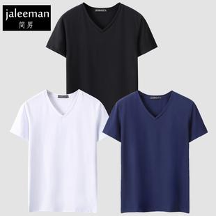 3件装短袖T恤男V领潮春夏季白色半袖打底衫男士纯色上衣