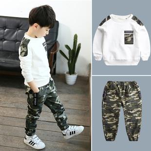 童装男童春装套装2019儿童迷彩男孩运动春秋季两件套潮衣