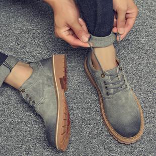 秋季男鞋工装潮鞋英伦皮鞋低帮鞋子男短靴复古工装马丁靴