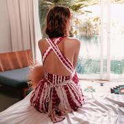 性感露背海边度假沙滩裙雪纺吊带马尔代夫巴厘岛三亚旅拍连衣裙女