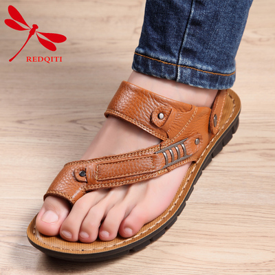 Hong Kong red dragonfly new recreational leisure thong 2015 true leather shoes, breathable men's shoes men punched slip-on sandals