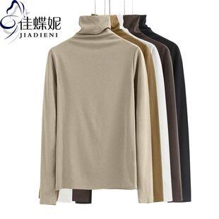 春季高领长袖纯棉纯色一体领T恤打底衫女百搭堆堆领体恤