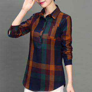 春秋季中年女装大码妈妈加绒加厚格子衬衫女长袖30-40岁上衣
