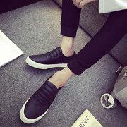 夏季男生鞋假系带帆布鞋男白色小白鞋单鞋低帮平底男鞋板鞋子
