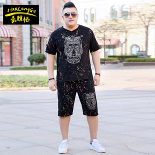 肥佬男加肥加大码短袖T恤套装胖子特大号短裤子运动夏套装