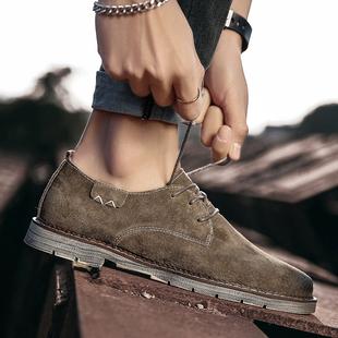 2019春季皮鞋男真皮磨砂鞋子低帮伐木鞋马丁鞋翻毛反绒皮男鞋