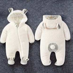 女婴儿连体衣服秋冬季0岁3男1宝宝春秋冬装6新生儿外套装加厚棉衣
