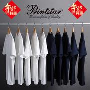 vintage日本重磅厚实纯棉纯色短袖T恤男女款无缝白色T恤打底衫潮