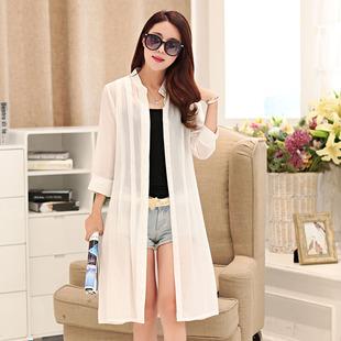 纯色中长款雪纺衫女夏季宽松外搭超薄款长衫外套防晒衫开衫潮