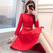 结婚回门服女装新娘衣服夏2019夏装礼服敬酒服长袖红色连衣裙