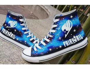 日系秋冬动漫帆布鞋男女妖精的尾巴手绘鞋涂鸦夜光个性学生特大码